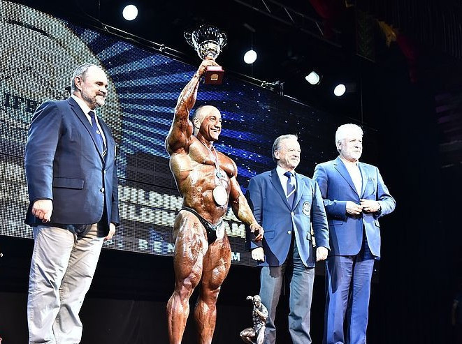 Iran's Roshanzamirtabari Morteza was named the overall bodybuilding champion after winning the +100kg event at the IFBB Men's World Bodybuilding Championships in Benidorm ©Jakub Csontos/EastLabs