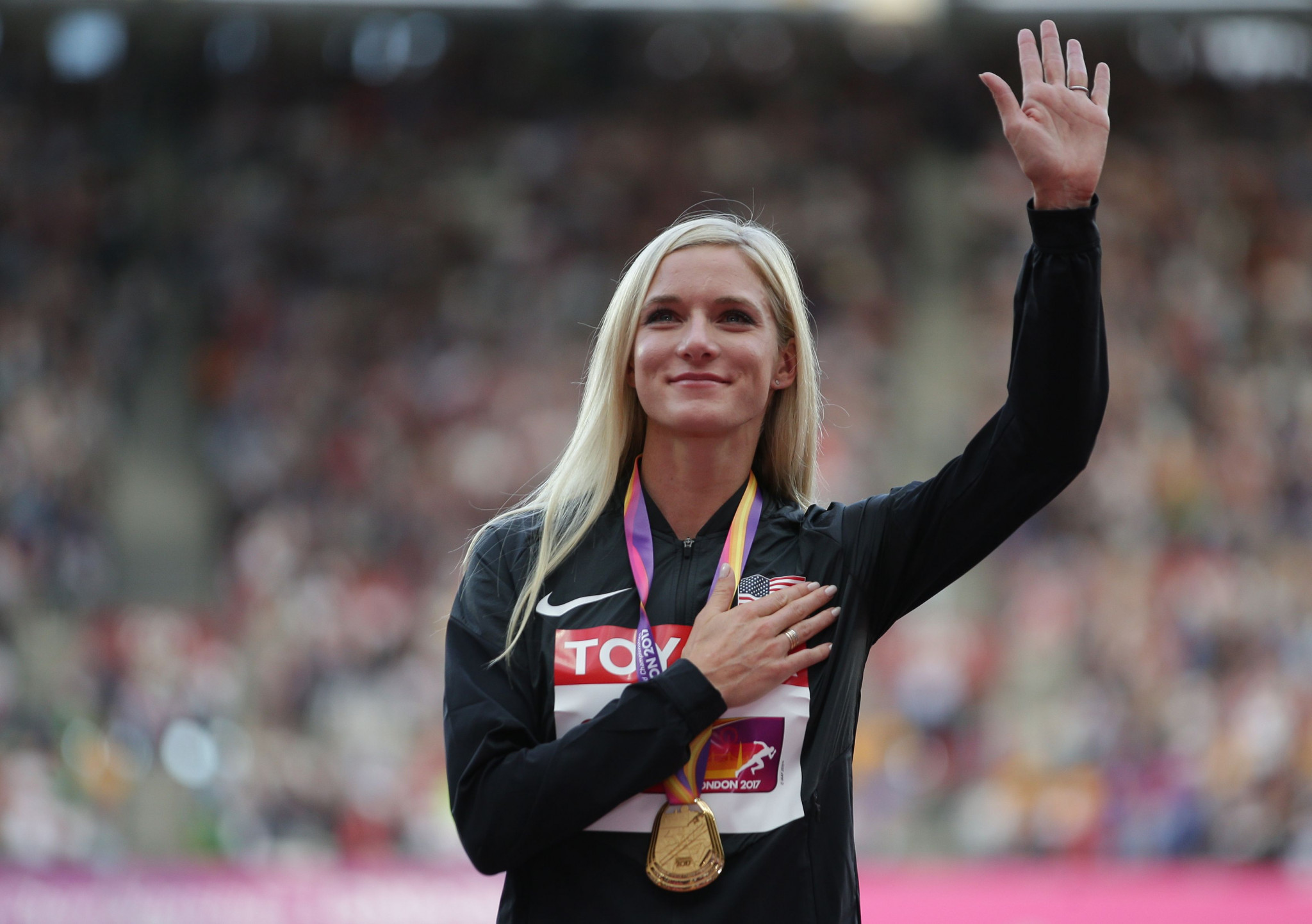 World 3,000m steeplechase champion Emma Coburn has backed Linda Helleland to be the next President of WADA ©Getty Images