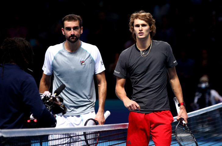 Germany's Alexander Zverev, right, won his opening group match at the ATP Finals in London's 02 Arena, beating Croatia's Marin Cilic ©Getty Images