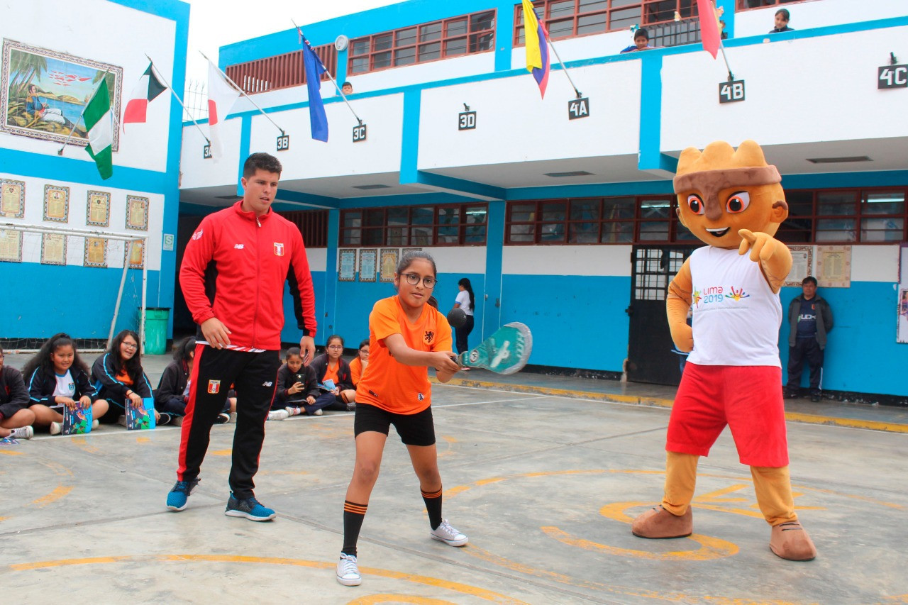 Lima 2019 mascot Milco joined in with the activities ©Lima 2019