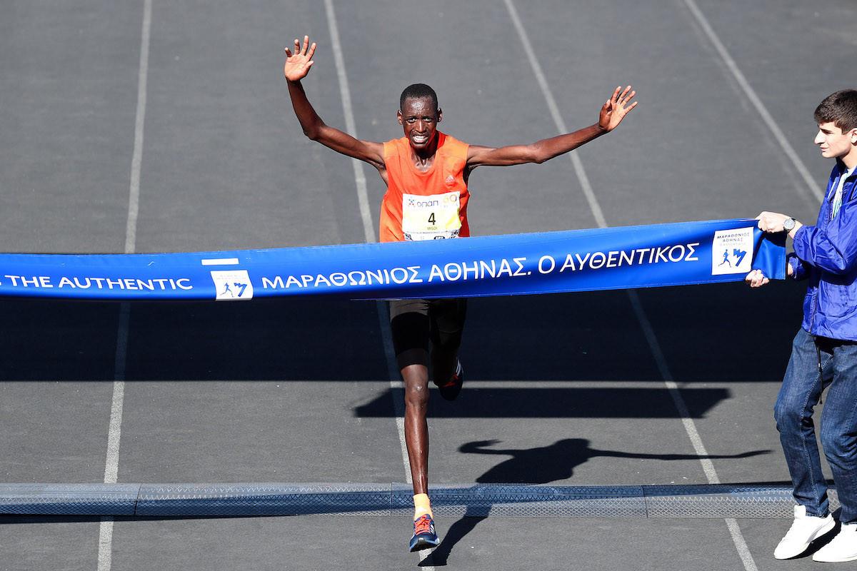 The winning time of Kenya's Brimin Kipkorir Misoi was the third fastest in the history of the Athens Marathon ©Athens Marathon