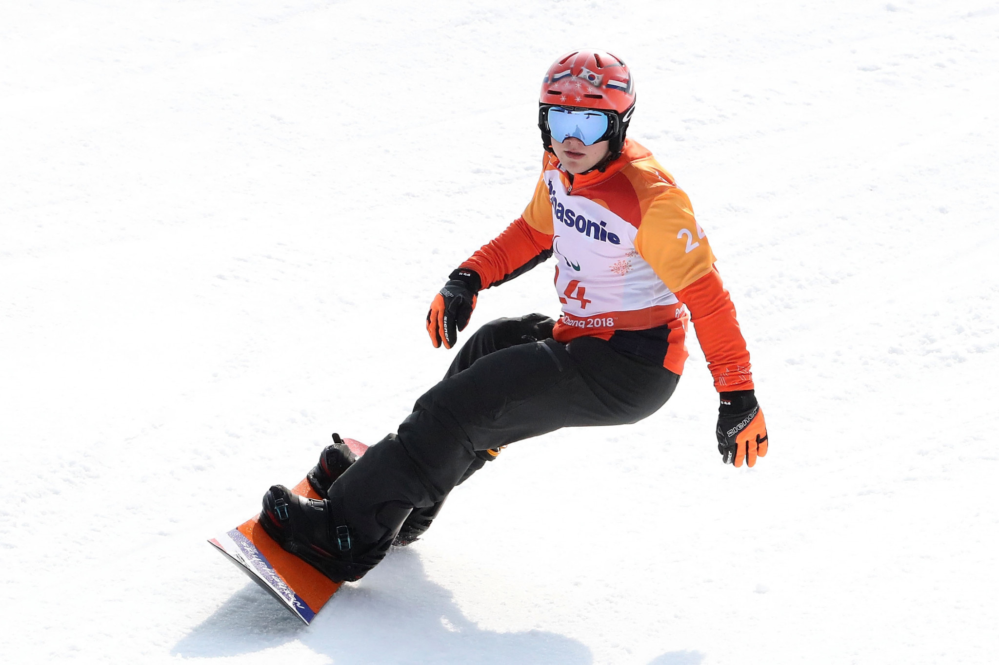 The Netherlands Chris Vos won a silver medal at Pyeongchang 2018 in snowboard cross bu triumphed at the World Para Snowboard World Cup before a home crowd in Landgraaf today ©Getty Images