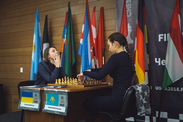 Former world chess champion Mariya Muzychuk, left, reached the semi-finals of this year's World Championship tournament in Russia ©FIDE