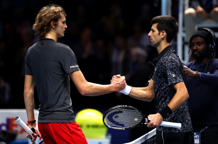 Novak Djokovic, right, top seed at the ATP Finals in London, has reached the semi-fnals following his 6-4, 6-1 win over Germany's Alexander Zverev ©Getty Images