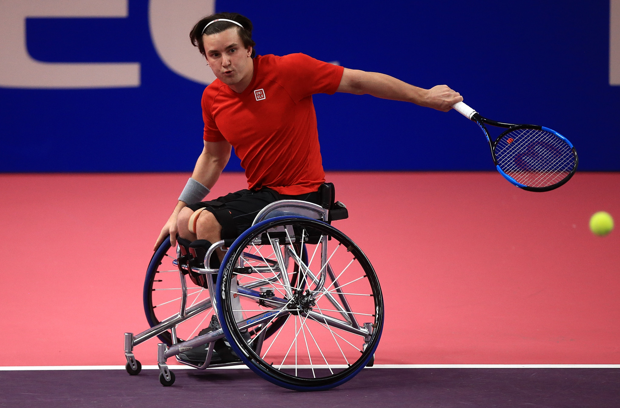 Great Britain's Gordon Reid partners Argentina's Gustavo Fernandez in the Wheelchair Doubles Masters to victory over Dutch pair Tom Egberink and Maikel Scheffers ©Getty Images