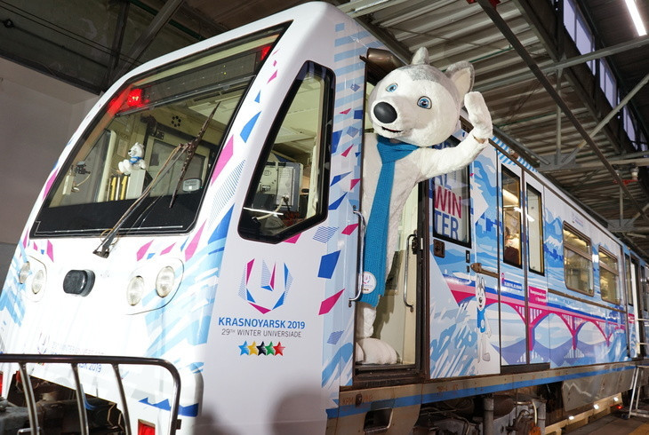 A branded train for the Krasnoyarsk Winter Universiade has been launched ©Winter Universiade