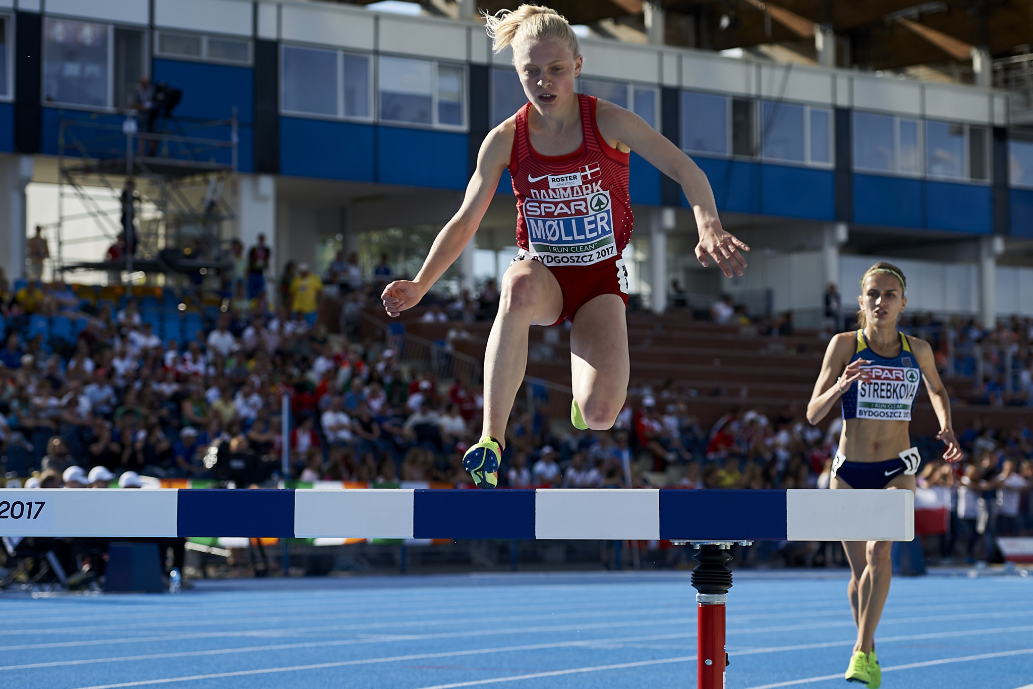 Denmark steeplechaser Anna Emilie Moller will look to challenge for the women's title ©Getty Images