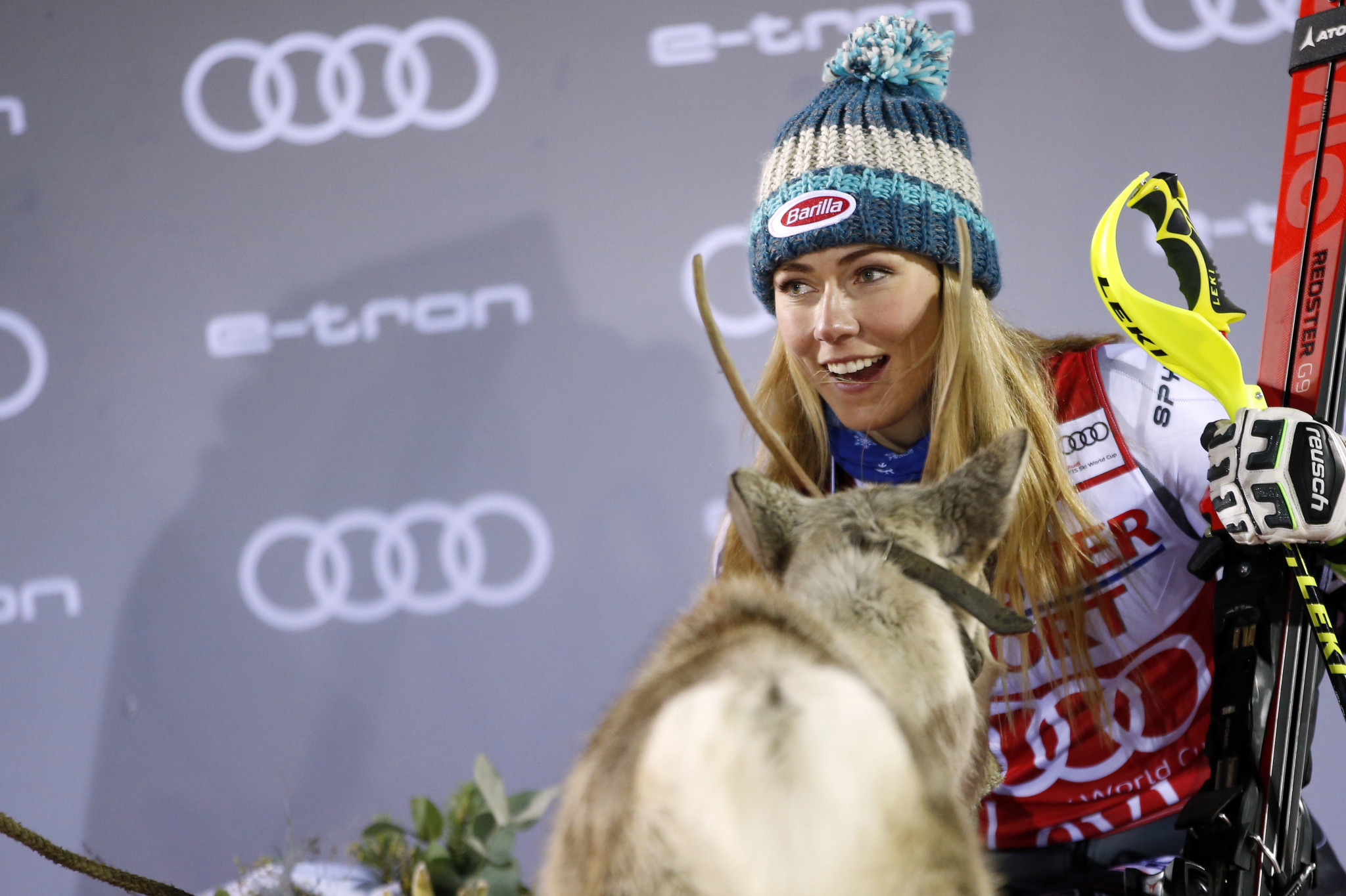 Shiffrin claims slalom World Cup win in Levi and rewarded with third reindeer
