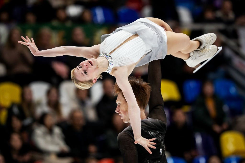 Evgenia Tarasova and Vladimir Morozov won gold in the pairs event at the ISU Grand Prix of Figure Skating despite Tarasova needing stiches earlier in the day for cutting her chin ©ISU