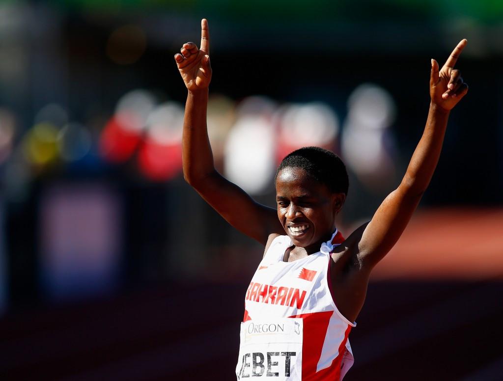 2014 World Junior Champion Ruth Jebet of Bahrain won women' steeplechase gold ©Getty Images