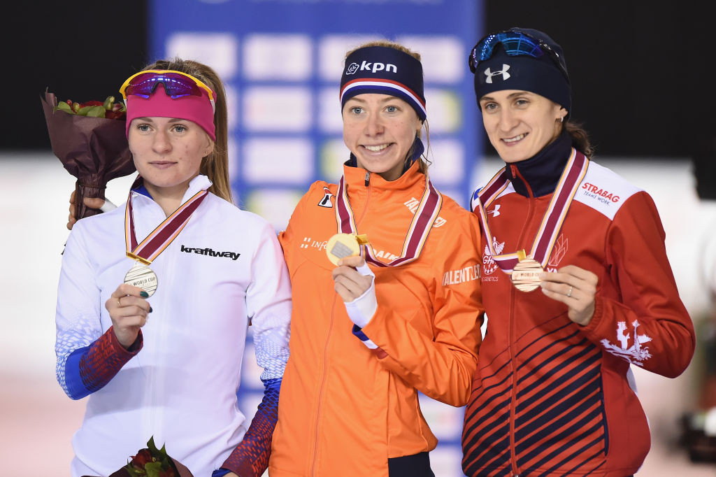 Esme Visser of The Netherlands won her country's first gold medal at the ISU Speed Skating World Cup in the women's 3,000 metres ©ISU
