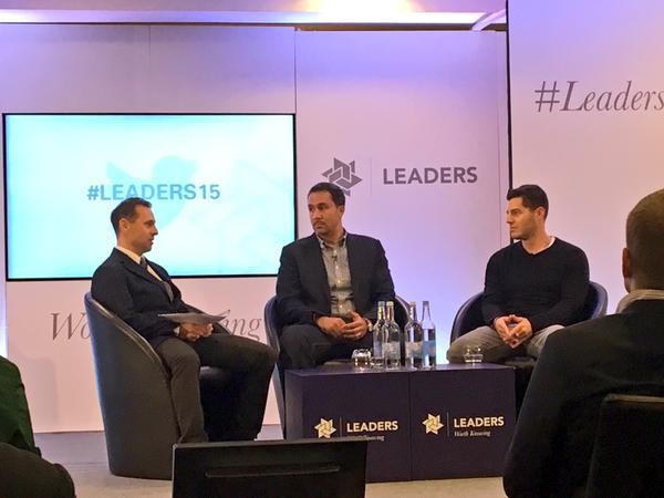 Ben Schwerin (centre) and Dan Reed (right) explained how their companies work to promote global sporting events ©Twitter