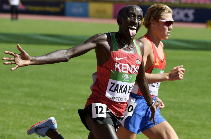 Kenya's 16-year-old Edward Zakayo, pictured winning the IAAF world under-20 5,000m title this summer, was beaten by his Ugandan teenage rival Jakob Kiplimo at today's IAAF Cross Country Permit meeting in Spain ©Getty Images