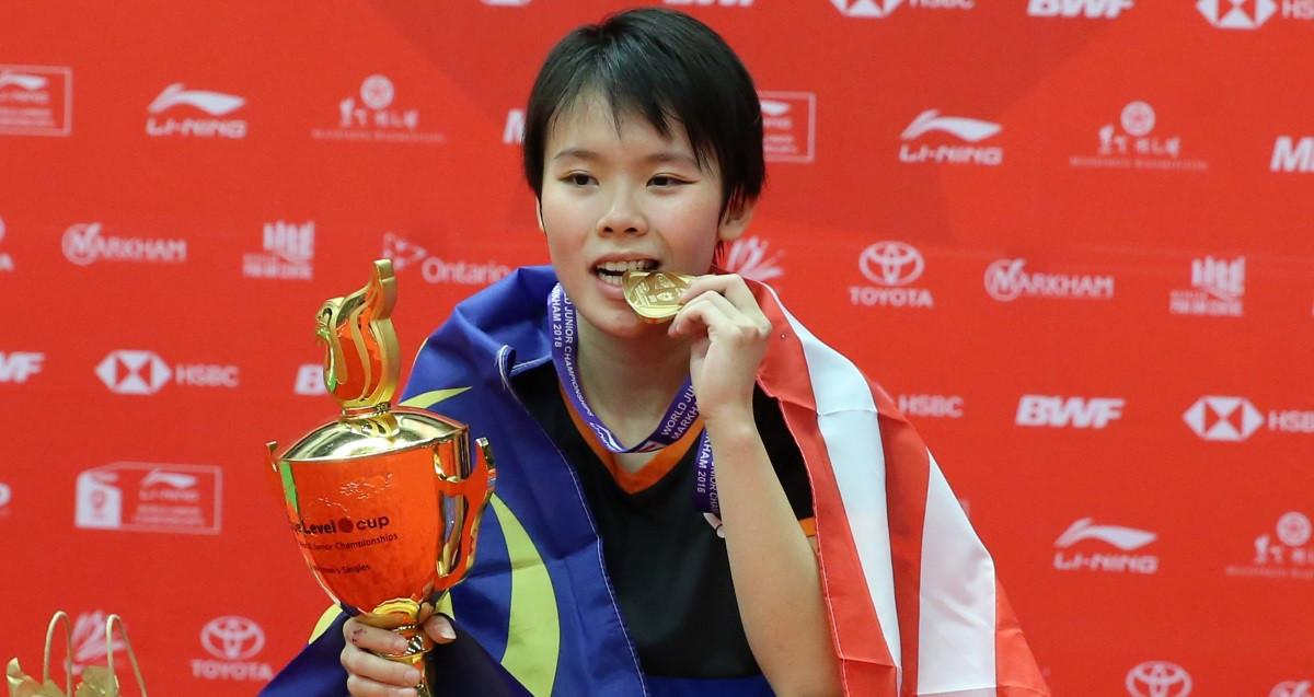 Malaysia's Goh Jin Wei has won the women's singles title for a second time at the Badminton World Federation World Junior Championships ©BWF