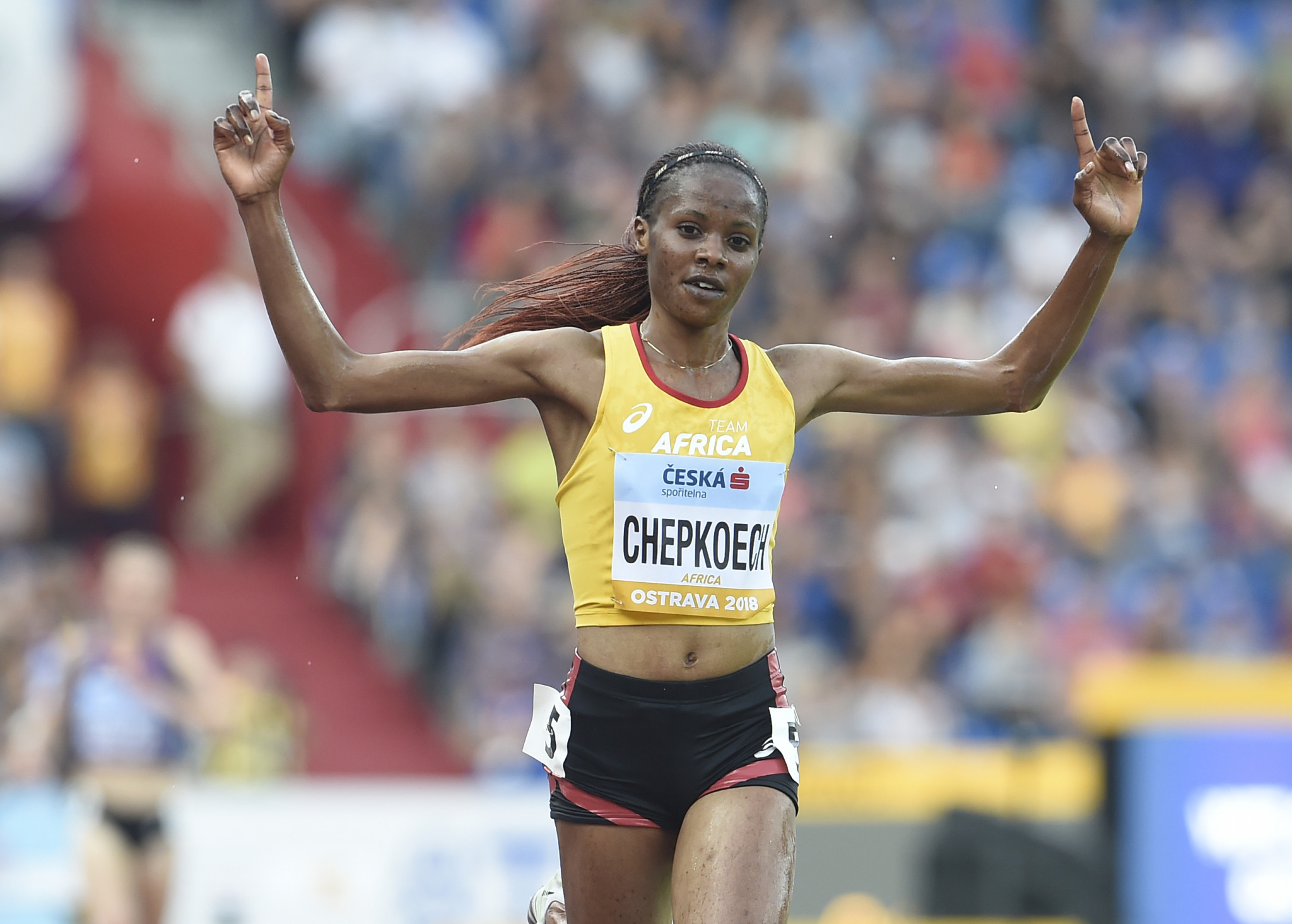 Kenya's Beatrice Chepkoech has been announced as a finalist for the Female World Athlete of the Year award by the IAAF for a season which included setting a world record in the 3,000m steeplechase ©Getty Images