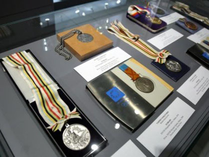 The Latvian Olympic Hall of Fame showcases the Olympic medals which Latvia have won in the past 30 years ©EOC