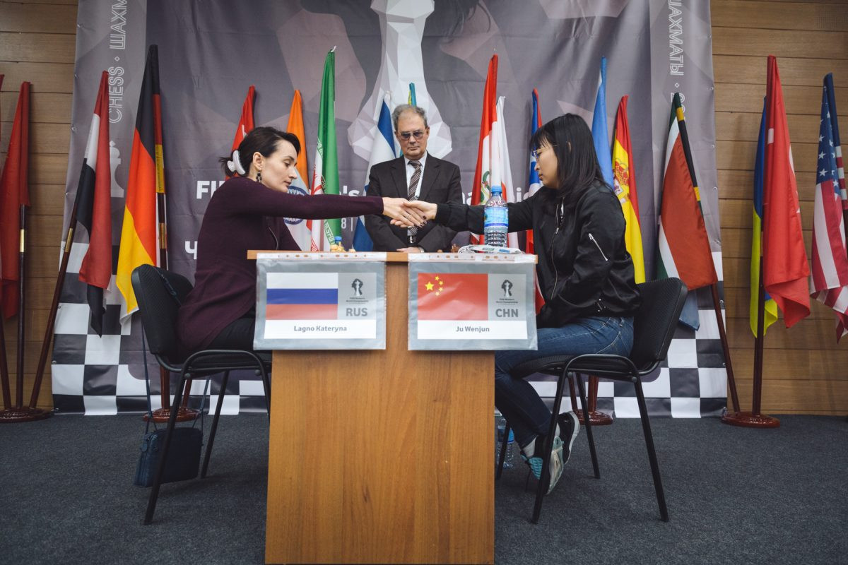 Russia's Kateryna Lagno, left, edged closer to a home triumph at the Women's World Chess Championship after winning the second game of the final against China's Ju Wenjun to take a 1½-½ lead ©Ugra 2018