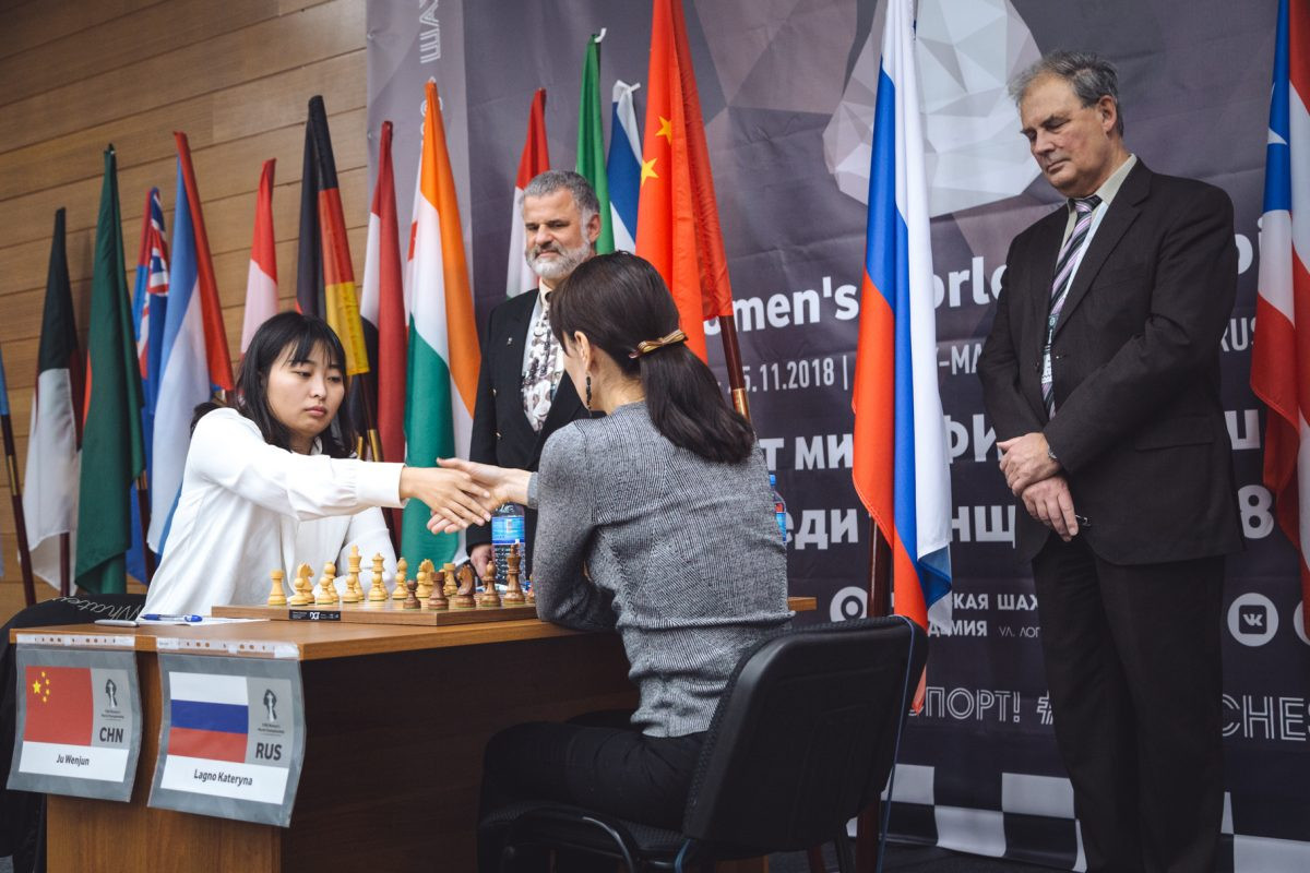 Game three of the Women's World Chess Championship final, between Russia's Kateryna Lagno and China's Ju Wenjun, ended in a draw at the Ugra Chess Academy in Khanty-Mansiysk ©Ugra 2018