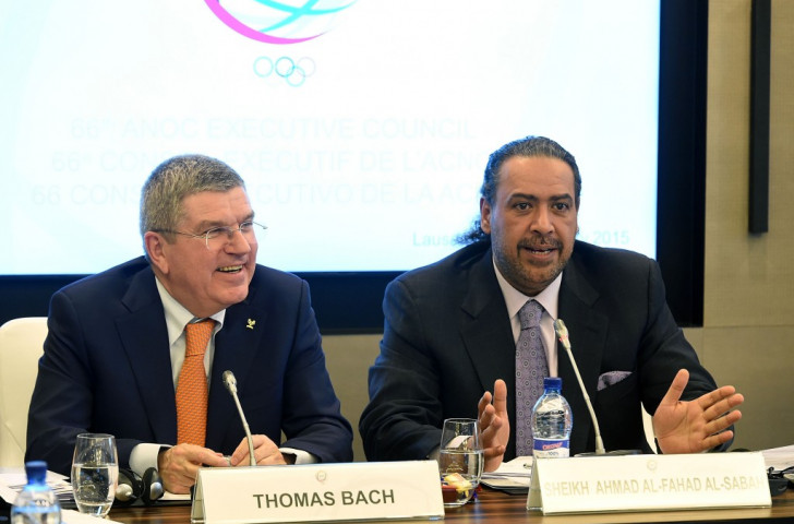Sheikh Ahmad (right) will continue to lead the Olympic Solidarity Commission while sitting on the Olympic TV Channel Panel ©Getty Images
