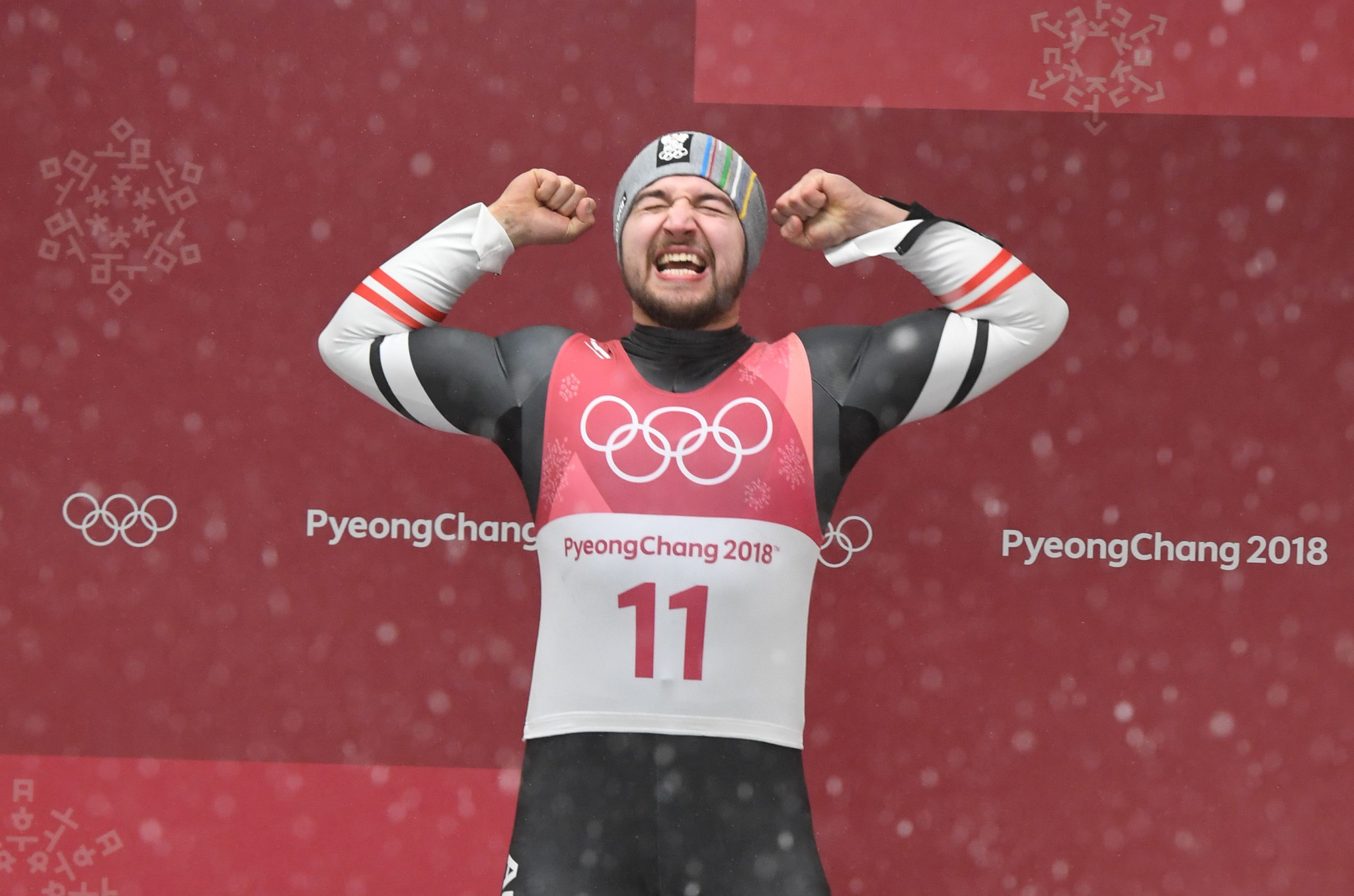 David Gleirscher celebrated his shock luge gold medal at the 2018 Pyeongchang Winter Olympic Games ©Getty Images
