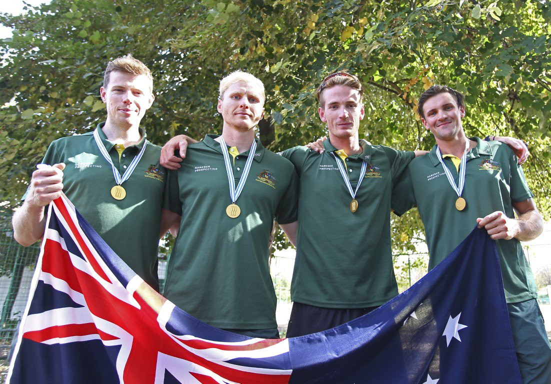 Australia's men's four crew of Alexander Hill, Jack Hargreaves, Spencer Turrin and Joshua Hicks won the Male Crew of the Year at the 2018 World Rowing Awards in Berlin ©Rowing Australia
