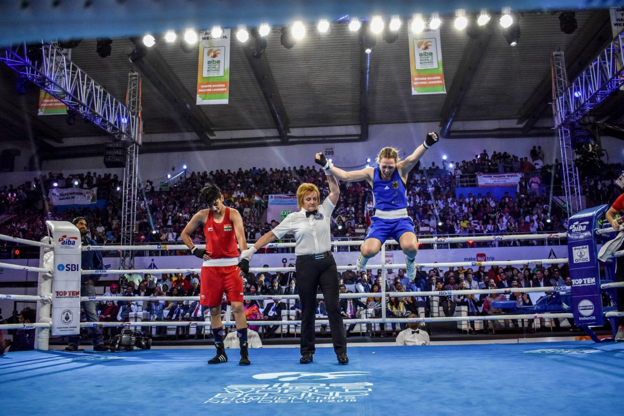 Ornella Garbriele Wahner celebrates winning Germany's first gold medal at the AIBA Women's Boxing World Championships in New Delhi after beating India's Sonia Chahal 4-1