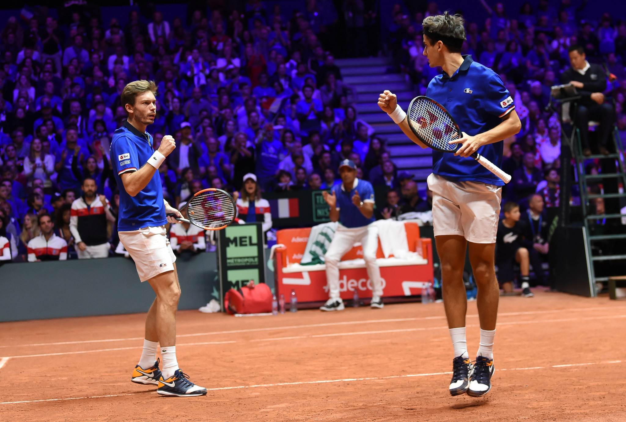 France's Nicolas Mahut and Pierre-Hugues Herbert won the doubles fixture to force a third day of competition a the Davis Cup in Lille ©Getty Images
