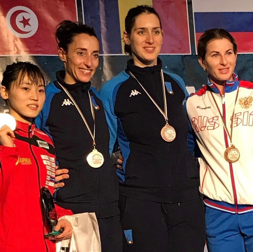 Elisa Di Francisca of Italy won gold at the FIE Women's Foil World Cup in Algiers, with Japan's Sera Azuma coming second and Italy's Martina Batini and Russia's Inna Deriglazova both third ©FIE