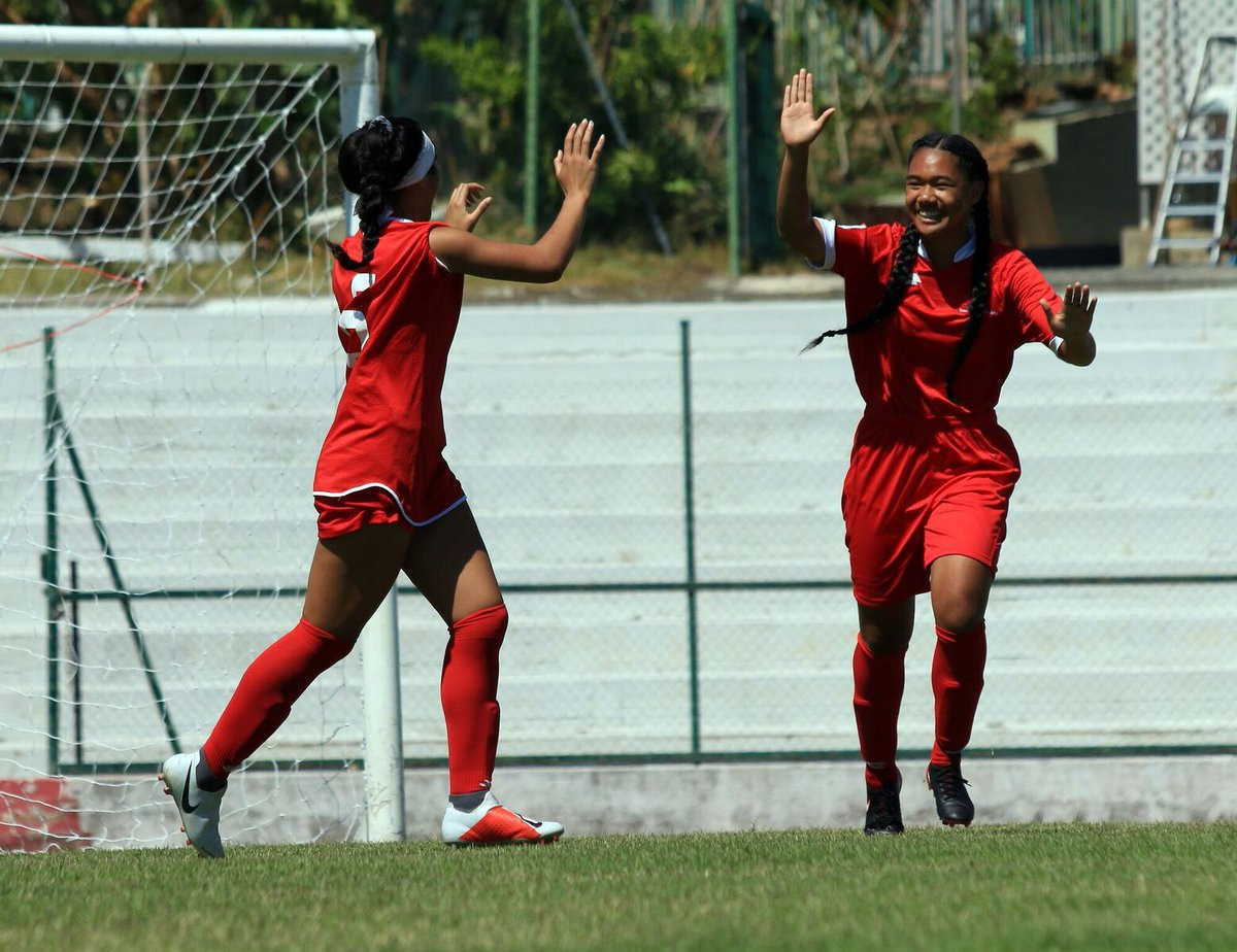 Tonga's Laveni Vaka celebrates scoring her goal against Cook Island in her team's 1-0 victory ©OFC