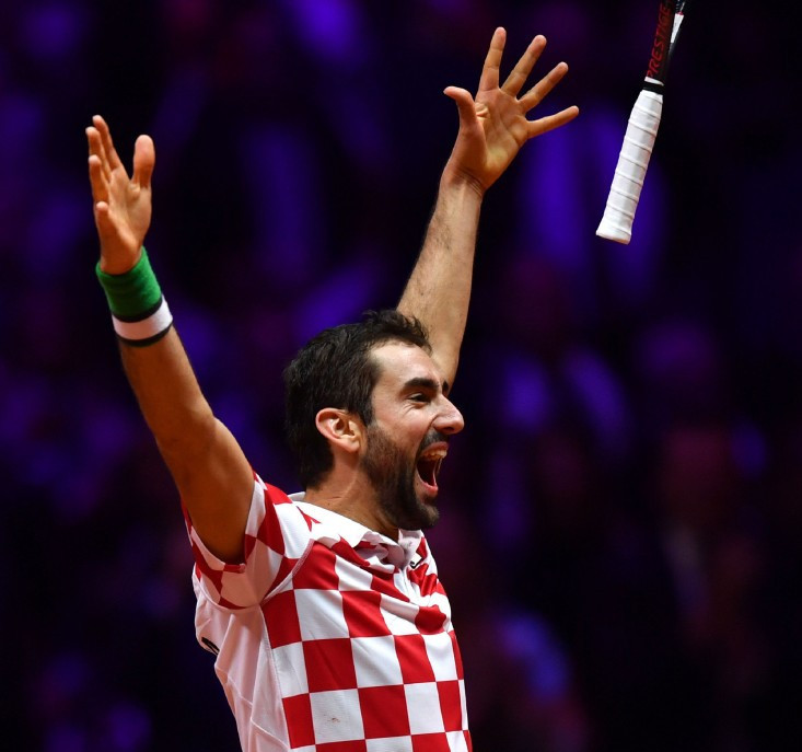 Marin Cilic celebrates the victory that earned Croatia victory over defending champions France in today's Davis Cup final in Lille ©Getty Images