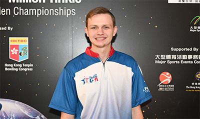 Andrew Anderson of the United States took an early lead in the qualifying at the Men's World Tenpin Bowling Championships in Hong Kong, achieving one perfect score of 300 ©World Bowling