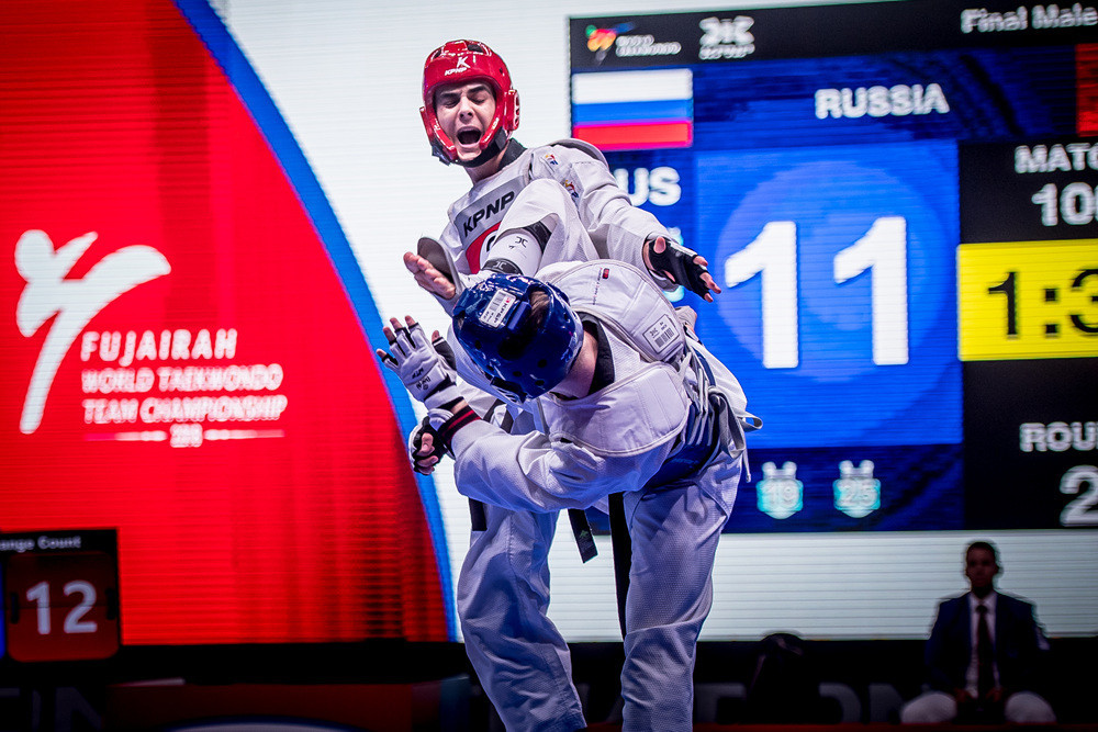The action in the men's final between defending champions Iran and Russia was fast and furous throughout, with Iran landing the decisive score with three seconds remaining to win 32-31 ©World Taekwondo