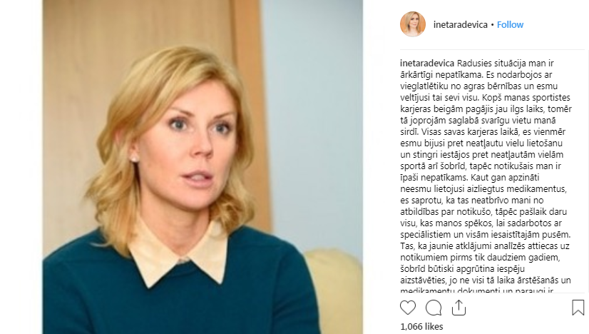 Ineta Radevica responded to news of the positive test with a message on Instagram ©Instagram