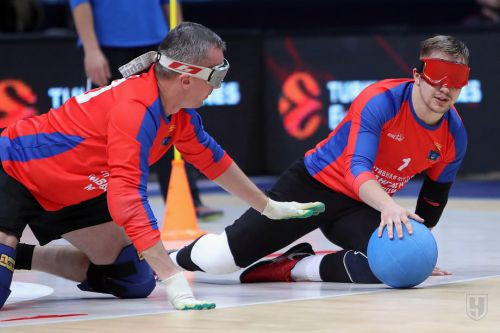 Goalball showcased in Russia during EuroLeague basketball match