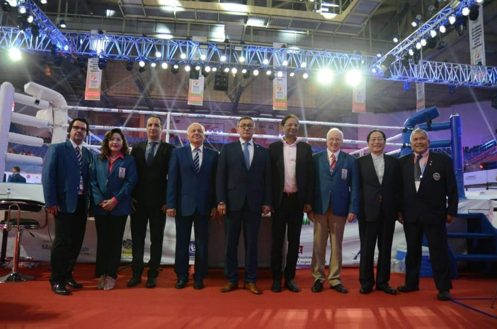 European Boxing Confederation President Franco Falcinelli, fourth right, was allowed to attend the AIBA Women's World Championships in New Delhi after having a provisional suspension lifted temporarily ©AIBA