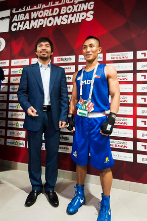 Eight-weight boxing world champion Manny Pacquiao was quick to congratulate fellow Filipino Rogen Ladon on his victory against top seeded light flyweight Joselito Velazquez Altamirano of Mexico ©AIBA Doha 2015/Twitter