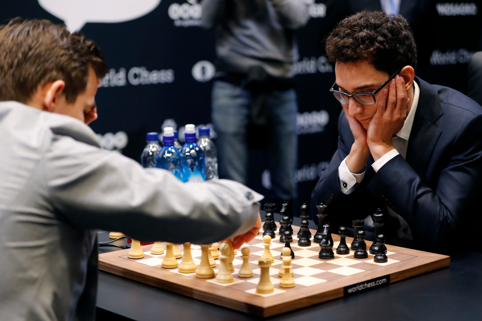Fabiano Caruana, right, resigned with defeat looking increasingly likely ©Getty Images