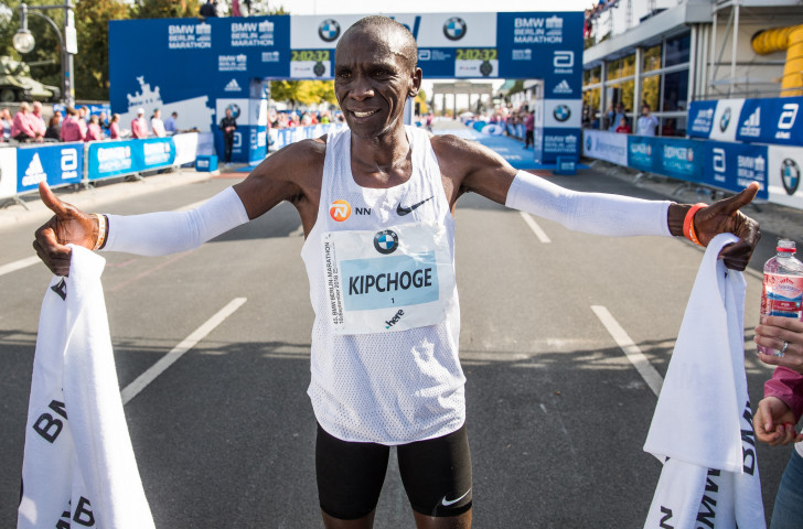Kenya's Eliud Kipchoge celebrates his astounding world marathon record in Berlin - a performance that will surely see him take the IAAF World Athlete of the Year title ©Getty Images