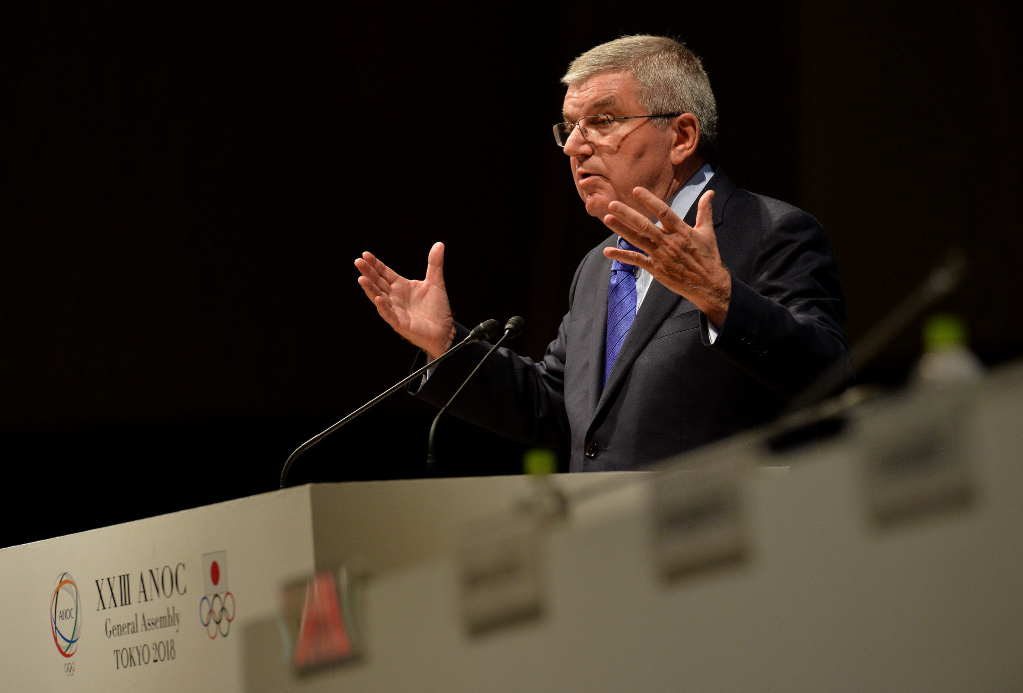 IOC President Thomas Bach gave a keynote speech on the second day of the ANOC General Assembly ©Getty Images