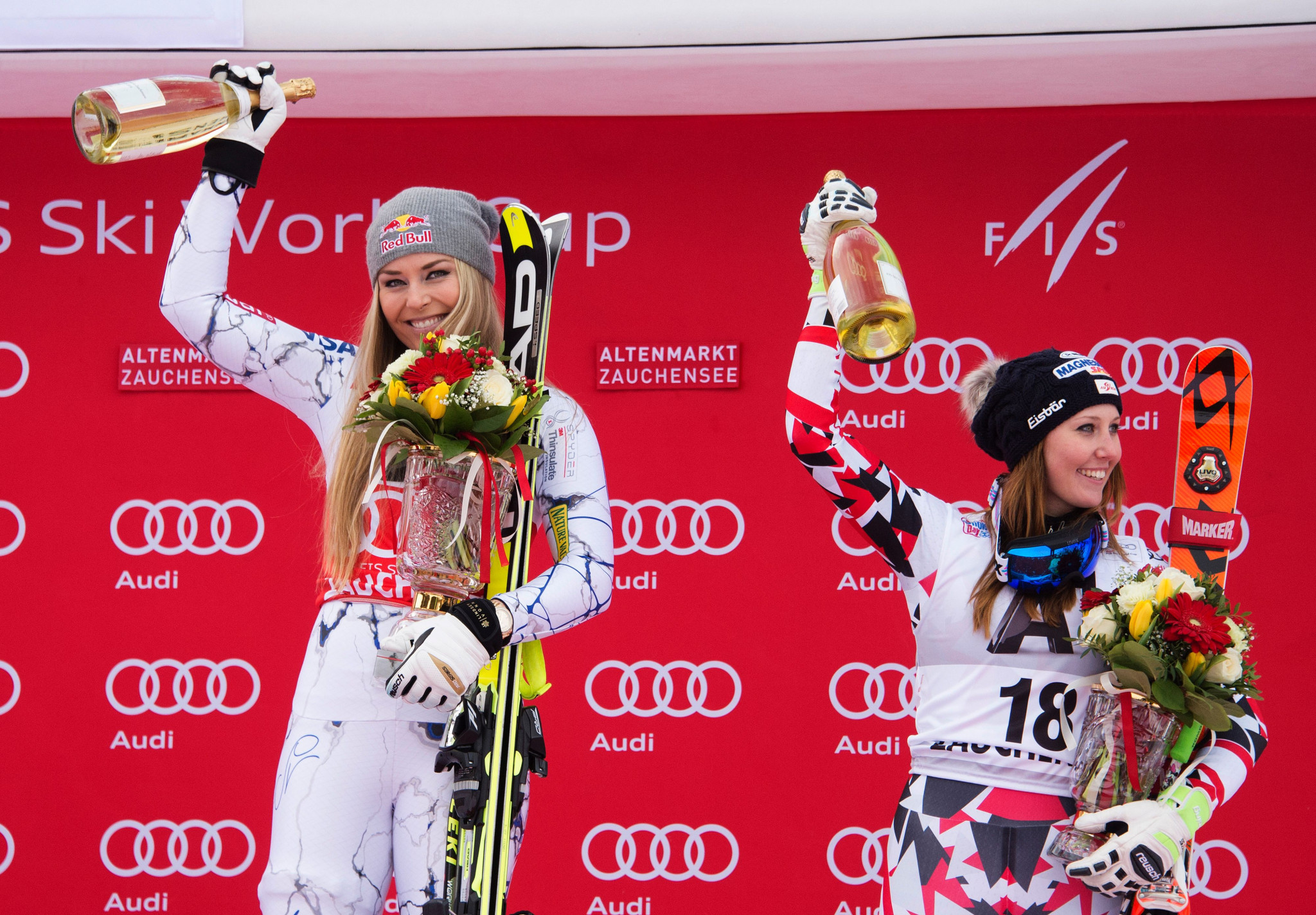 Downhill skiing icon Lindsey Vonn, left, will not compete in Lake Louise ©Getty Images