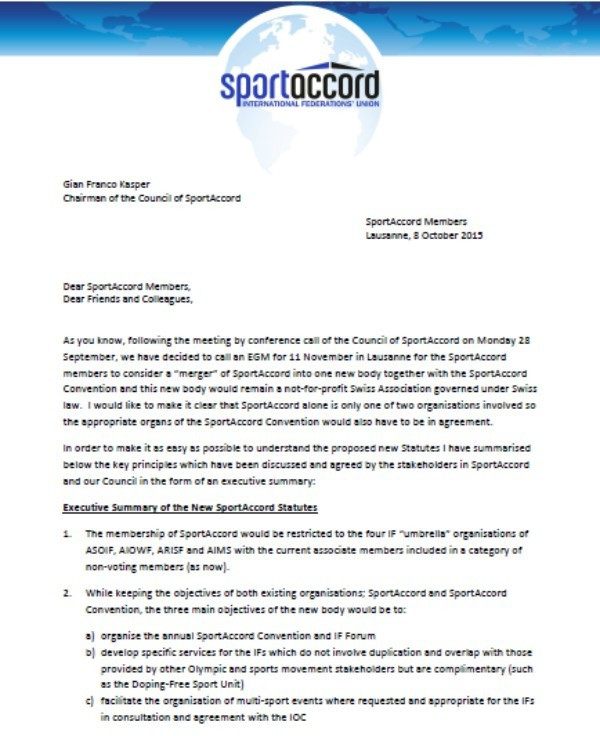 The first page of an Executive Summary of the proposed new SportAccord Statutes ©ITG