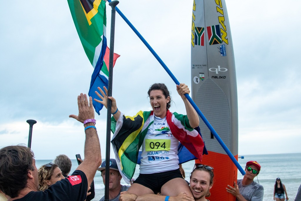 South Africa's Tarryn King claimed a historic victory for her country today at the ISA World SUP and Paddleboard Championship in Wanning in China ©ISA/Pablo Jímenez