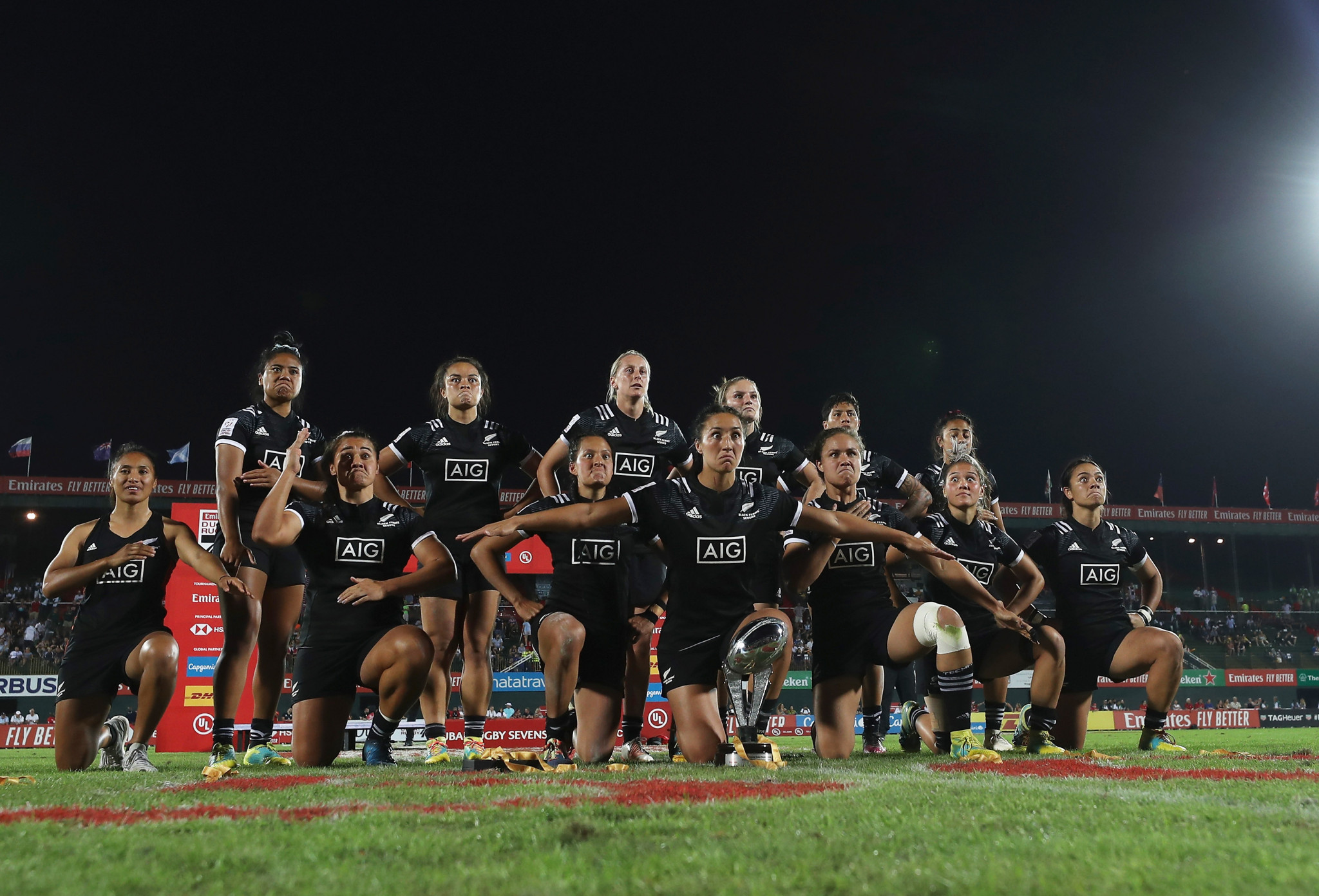New Zealand perform their celebratory haka after winning the World Rugby Women's Sevens Series in Dubai ©World Rugby