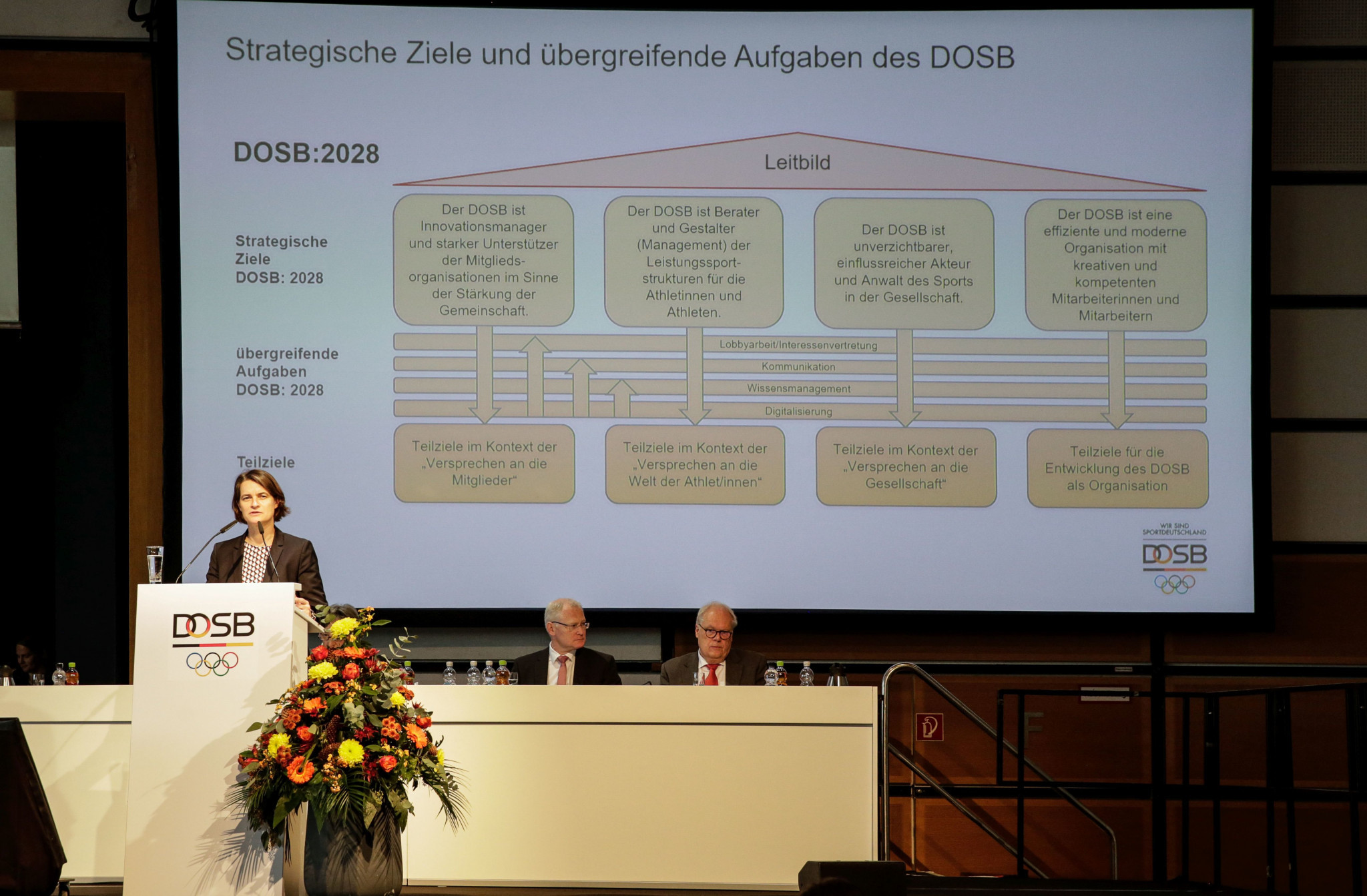 DOSB chef executive Veronika Rücker presented the strategy of the DOSB until 2028 at the General Assembly, including the organisation's controversial policy on esports ©DOSB