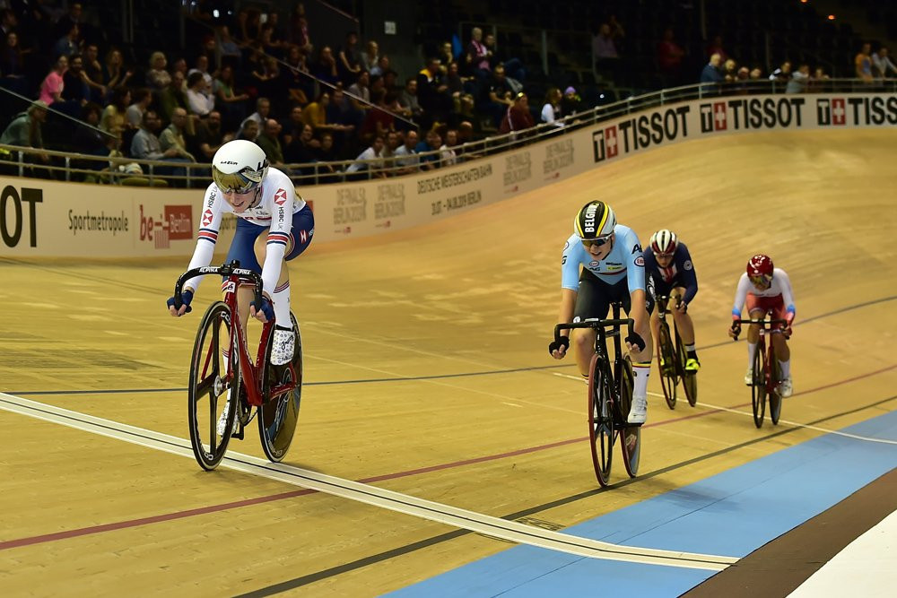 Britain's Kenny and Nelson get gold in women's madison at UCI Track Cycling World Cup