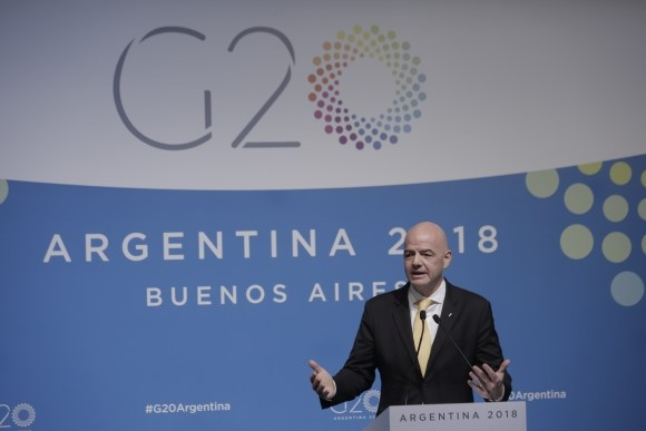FIFA President Infantino claims football can help promote world peace in speech at G20