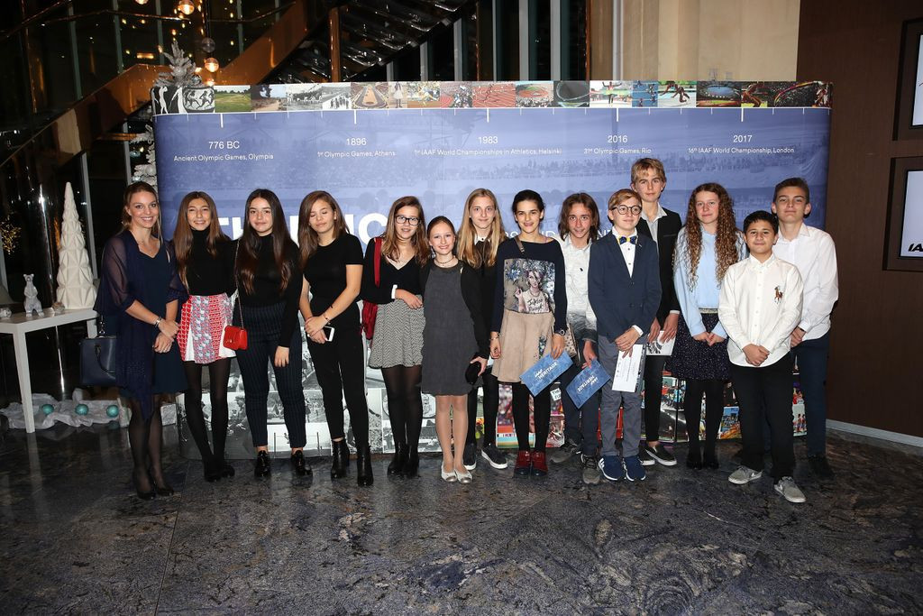 Youngsters representing many athletics legends were present at the launch ©IAAF