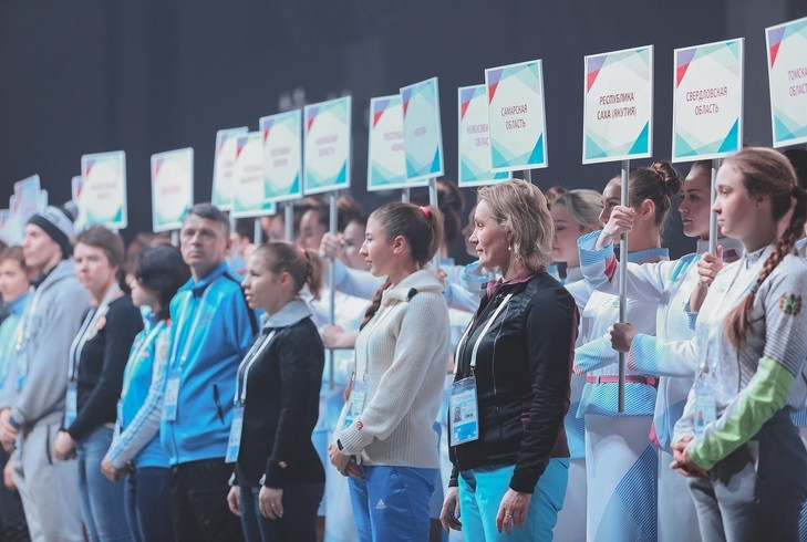 A parade of the regions represented at the Russian Ski Cross Cup in Krasnoyarsk was held before the event ©Krasnoyarsk 2019