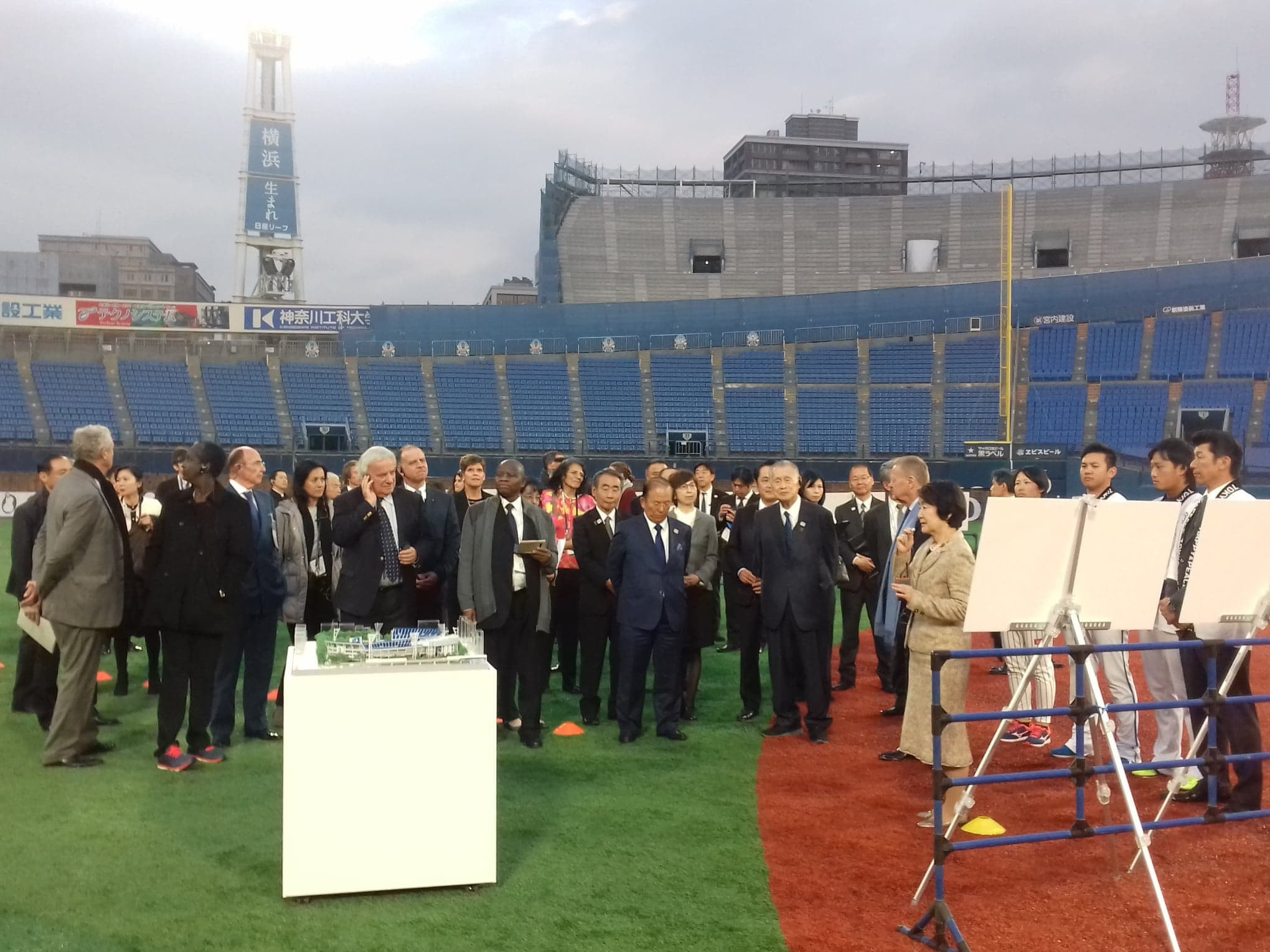 Yokohama Mayor Fumiko Hayashi explained the upgrades being made to the stadium ©ITG