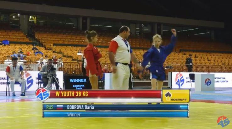 Daria Bobrova won the world cadet title at 38kg ©YouTube